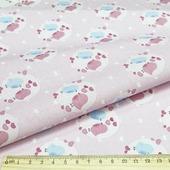 """Ткань Кустарь """"Совушки и птички №12"""", цвет: белый, голубой, розовый, 48 х 50 см"""
