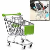 Мини тележка для покупок из супермаркета для настольного хранения или как подставка для телефона (зеленая)