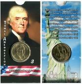 Блистер с монетой США 1 доллар 2007 г., Президенты USA (Томас Джефферсон)