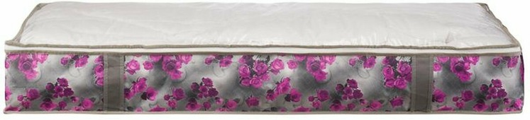 "Короб для хранения Handy Home ""Роза"", складной, цвет: серый, фиолетовый, 107 х 46 х 15 см"