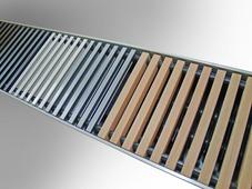 КЗТО Решетка рулонная 380x1000 (10 Нерж 20 втулки чёрные) Нерж. сталь, полированная