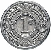 Монета Нидерланские Антиллы 1 цент 1993 Апельсиновое дерево Q162102