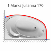 Карниз для ванны 1 Marka Julianna 170х100 (1 Марка Джулиана)