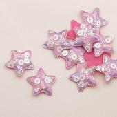 Патч с пайетками звезда 35х35мм, цвет розовый
