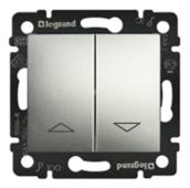 Выключатель управления жалюзи без фиксации с электрической блокировкой 10 А - 250 В~. Цвет Алюминий. Legrand Valena Classic (Легранд Валена Классик). 770114