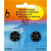 Кнопки пришивные латунь 18 мм 2 шт черный Pony 76567
