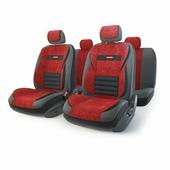 """Набор ортопедических авточехлов Autoprofi """"Multi Comfort"""", экокожа, цвет: черный, красный, 11 предметов. Размер M"""