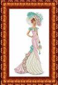 """Набор для вышивания бисером Каролинка """"Дама с сумочкой"""", 23,7 х 39,1 см"""