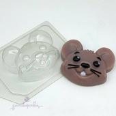 Мышь - Мультяшная голова, форма для мыла пластиковая