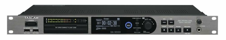 Tascam DA-3000 2-канальный HD мастер-рекордер на SD/SDHC/CF, воспроизведение с SD/SDHC/CF/USB flash, Sampling rate up to PCM 192 kHz, DSD 5.6 MHz, XLR / RCA analogue I/O, Coaxial digital I/O (SPDIF), XLR digital I/O (AES/EBU / SPDIF), BNC digital I/O (SDI