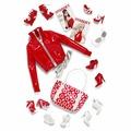 Комплект одежды и аксессуаров Barbie Basics Look No. 02—Collection Red (Набор №2 из Красной Коллекции для кукол Барби)