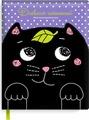 """Дневник школьный Феникс+ """"Кот"""", 48 листов, черный, сиреневый"""