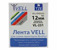 Лента Vell VL-231 (Brother TZE-231, 12 мм, черный на белом) для PT 1010/1280/D200/H105/E100/ D600/E300/2700/ P700/E550/9...