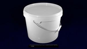 Ведро полипропиленовое пищевое белое 11,3л JOKEY, с белой крышкой и металлической ручкой.1802/59wq
