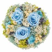 Цветы сухие и стабилизированные Букет Романтика, голубой