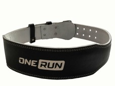 Кожаный ремень для фитнеса OneRun цвет черный, размер L