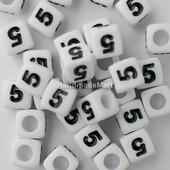"""Акриловая Цифра """"5"""", Квадратная, 7мм, Белая"""