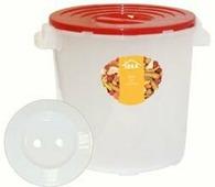 """Бак для соления """"Idea"""", с гнетом, цвет: прозрачный, красный, 13 л"""