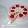 Торт с розами под нарезку, форма для мыла пластиковая