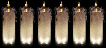 """Комплект декоративных свечей Lefard """"Горный хрусталь"""", 234-131, серебристый, 7,5 х 7,5 х 24 см, 6 шт"""
