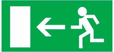 """Наклейка эвакуационный знак Rexant """"Направление к эвакуационному выходу налево"""" (100х300 мм) {56-0025}"""