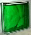 Стеклоблок торцевой волна зеленый