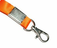 Лента для бейджей с карабином оранжевая 10 мм