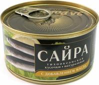 Сайра тихоокеанская За Родину кусочки, натуральная с добавлением масла, 185 г