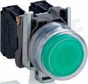 зеленая лампа со встроенным светодиодом 24V Schneider Electric, XB4BVB3