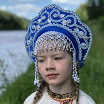 """Кокошник """"Венец"""" взрослый (синий с серебристо-голубой окантовкой)"""