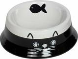 Миска для животных Nobby Cat Face, белый, черный, 140 мл