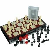 """Набор настольных игр Bondibon """"Удачная партия"""", 4в1: нарды, шашки, шахматы, карты"""