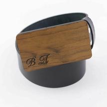 Ремень мужской кожаный для джинс гладкий, черный, с деревянной пряжкой из древесины Имбайя
