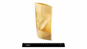 Дой-пак (зип/гриппер) 120мм*185мм, крафт 40гр с полипропиленовым окном на всю сторону пакета и дном 30мм+30мм.DPACK/111
