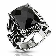 Кольцо перстень готический с крупным гранёным ониксом Spikes
