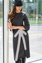 Платье Люше 2093 А черный/молочный/полоска