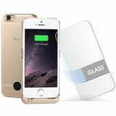 Чехол-аккумулятор + стекло 2200мАч для iPhone5/SE Gold