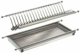 """Сушилка для посуды """"Lemax"""", 2-уровневая, с поддоном, цвет: стальной, длина 100 см"""