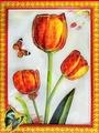 Наклейка ЛиС картина-наклейка из пластика 32х42см, Цветы, PLA пластик