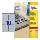 Серебристые полиэстерные этикетки Avery Zweckform 96x50.8 мм (10 шт. на листе A4, 20 листов) {L6012-20}