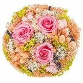 Букет из сухих и стабилизированных цветов Романтика розовый