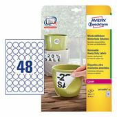 Всепогодные удаляемые этикетки Avery Zweckform для лазерных принтеров, круглые Ø 30 мм (48 шт. на листе A4, 20 листов) {...