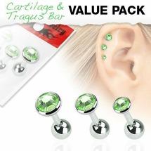 Пирсинг для уха с зелеными цирконами 3 штуки Spikes
