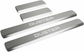 Накладки на пороги Rival для Renault Duster I 2010-н.в., нерж. сталь, с надписью, 4 шт. NP.4703.3