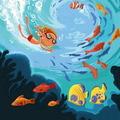 """Эко-открытка """"Плавать с рыбками"""""""