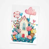 Открытка Aromaform Ароматизированная открытка «Сладкий домик», аромат - сладости, открытка двойная+конверт, размер 10,5х15 см, Картон