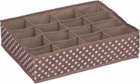 "Короб для хранения Handy Home ""Полька"", 16 секций, цвет: серый, белый, 35 х 27 х 9 см"