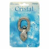 """Крючок шубный """"Cristal"""", со стразами, цвет: никель. 7707621"""