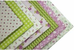"""Набор тканей для пэчворка Кустарь """"Розовый сад"""", цвет: белый, зеленый, сиреневый, 48 х 50 см"""
