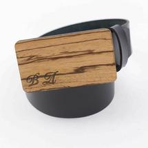 Ремень мужской кожаный для джинс гладкий, черный, с деревянной пряжкой из древесины Забрано